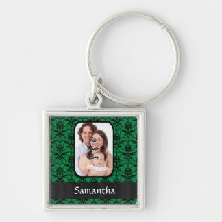 Green and black damask keychain