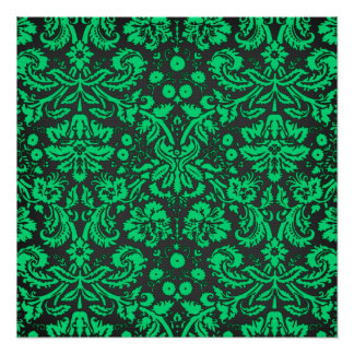 Green and Black Damask Poster