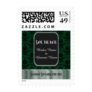Green and black damask save the date postage