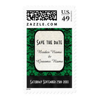 Green and black damask save the date postage stamp
