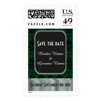 Green and black damask save the date stamp