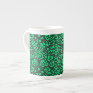 Green and Black Damask Tea Cup