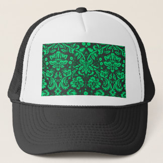 Green and Black Damask Trucker Hat