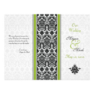Green and Black Damask Wedding Program