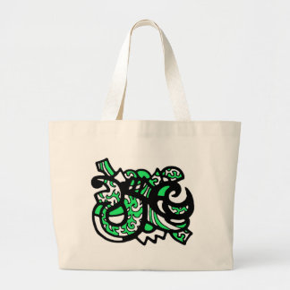 Green and Black Design Large Tote Bag
