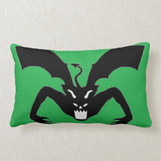 Green And Black Devil Lumbar Pillow