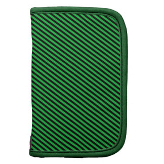 Green and Black Diagonal Stripes Folio Planner