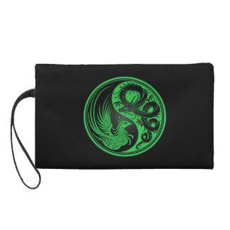 Green and Black Dragon Phoenix Yin Yang Wristlet