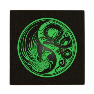 Green and Black Dragon Phoenix Yin Yang Wood Coaster