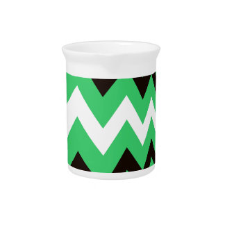 Green and Black Fast Lane Zigzags Beverage Pitcher