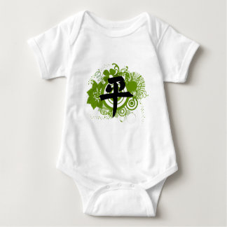 Green and Black Floral Abstract Baby Bodysuit