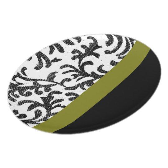 Green and Black Floral Damask Pattern Melamine Plate