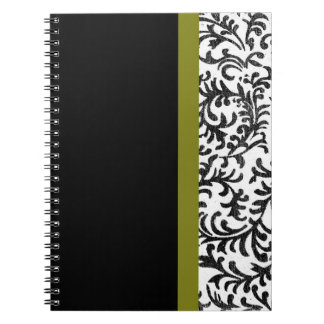 Green and Black Floral Damask Pattern Note Book