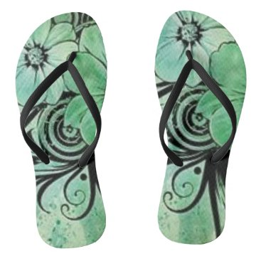 Beach Themed Green and Black Floral Flip Flops