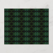Green and black floral pattern.