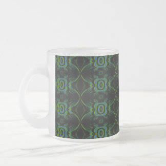 Green and black floral pattern. frosted glass coffee mug