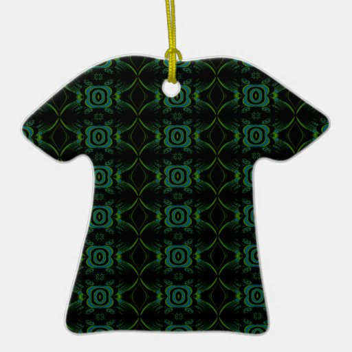 Green and black floral pattern. Double-Sided T-Shirt ceramic christmas ornament