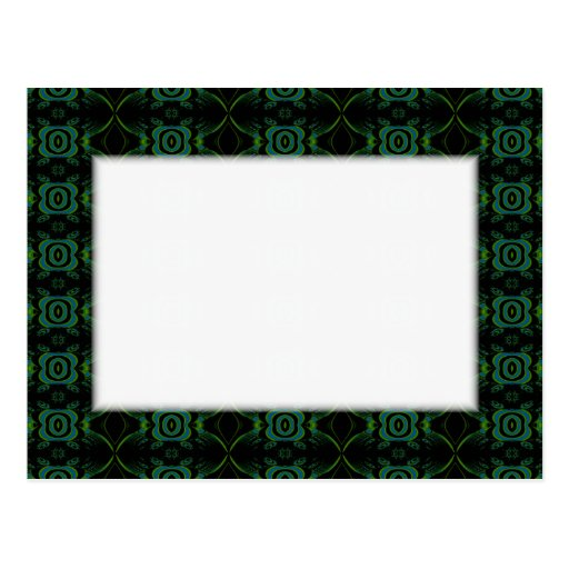 Green and black floral pattern. postcards