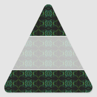 Green and black floral pattern. triangle sticker