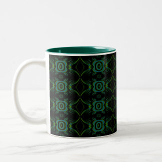 Green and black floral pattern. Two-Tone coffee mug