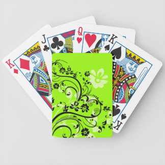 Green and Black Floral Playing Cards