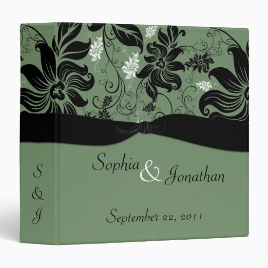 Green and Black Floral Wedding Binder