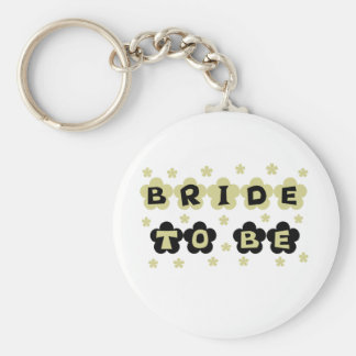 Green and Black Flowers Bride to Be Basic Round Button Keychain