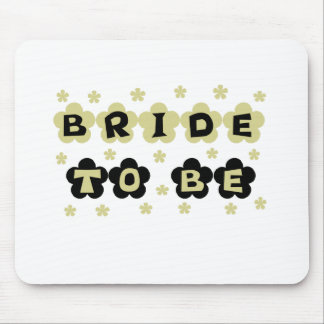 Green and Black Flowers Bride to Be Mouse Pad