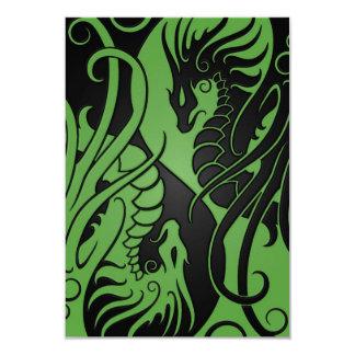Green and Black Flying Yin Yang Dragons Card