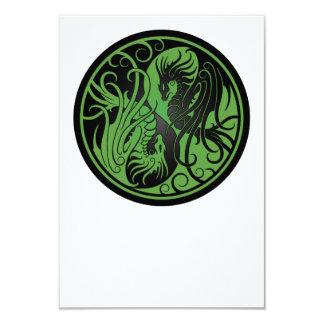 Green and Black Flying Yin Yang Dragons 3.5x5 Paper Invitation Card