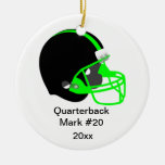 Green and Black Football Ornament