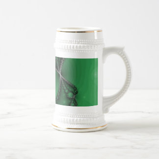 Green and Black Fractal Jewels Beer Stein