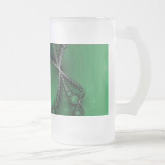Green and Black Fractal Jewels Frosted Glass Beer Mug