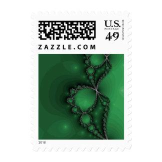 Green and Black Fractal Jewels Postage