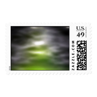 Green And Black Fuzzy Background Postage Stamps