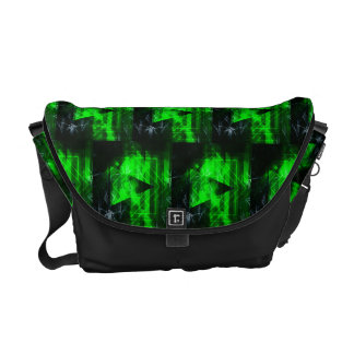 Green and Black Geometrical Abstract Pattern Messenger Bag