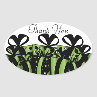 Green and Black Gift Presents | Customize Oval Sticker