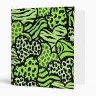 Green and black girly animal print hearts 3 ring binder