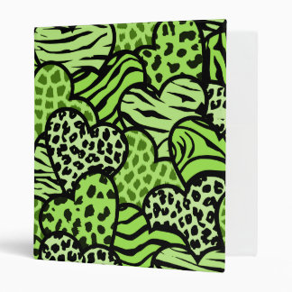 Green and black girly animal print hearts 3 ring binder
