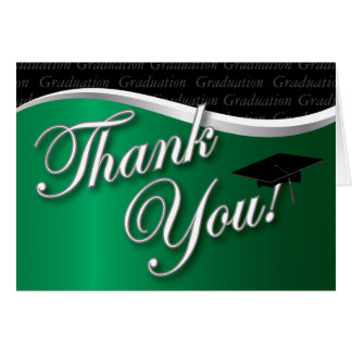 Green and Black Graduation Thank You Stationery Note Card