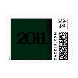 Green and Black Grunge Graduation Postage Stamp