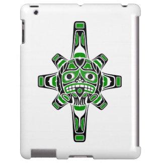 Green and Black Haida Sun Mask on White