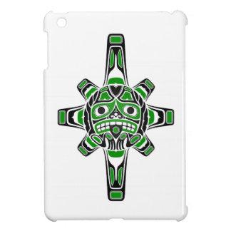 Green and Black Haida Sun Mask on White Cover For The iPad Mini