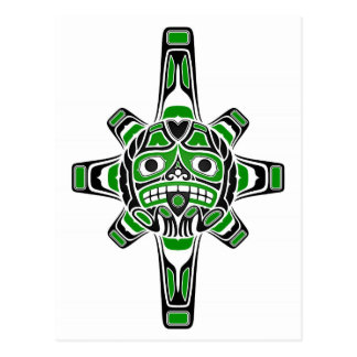 Green and Black Haida Sun Mask on White Postcard