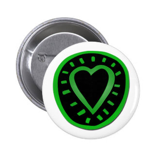 Green and black Heart -1- Pinback Button