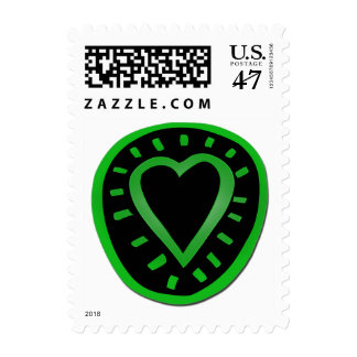 Green and black Heart -1- Postage