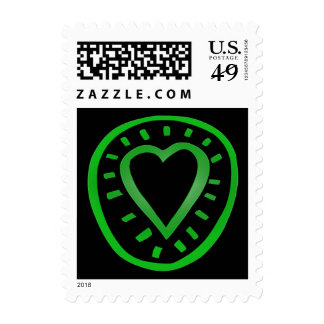 Green and black Heart -2- Postage