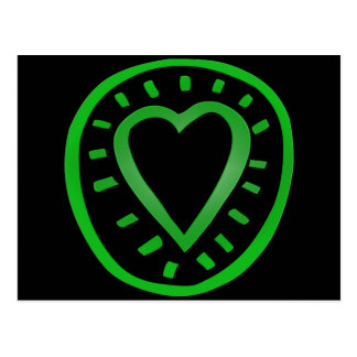 Green and black Heart 2 Postcard