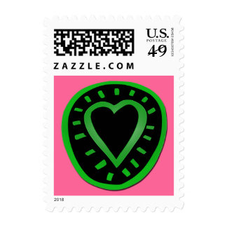 Green and black Heart -3- Postage