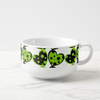 Green And Black Hearts Soup Mug